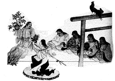 「古事記絵詞」より 神懸かりの踊りを披露する天宇受売命く(山邊神宮蔵)